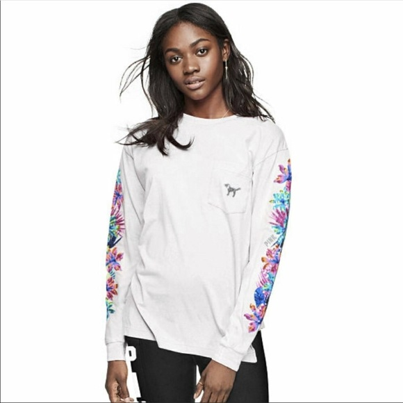 Victoria/'s Secret PINK White Tropical Floral Bling Long Sleeve Pocket Tee M